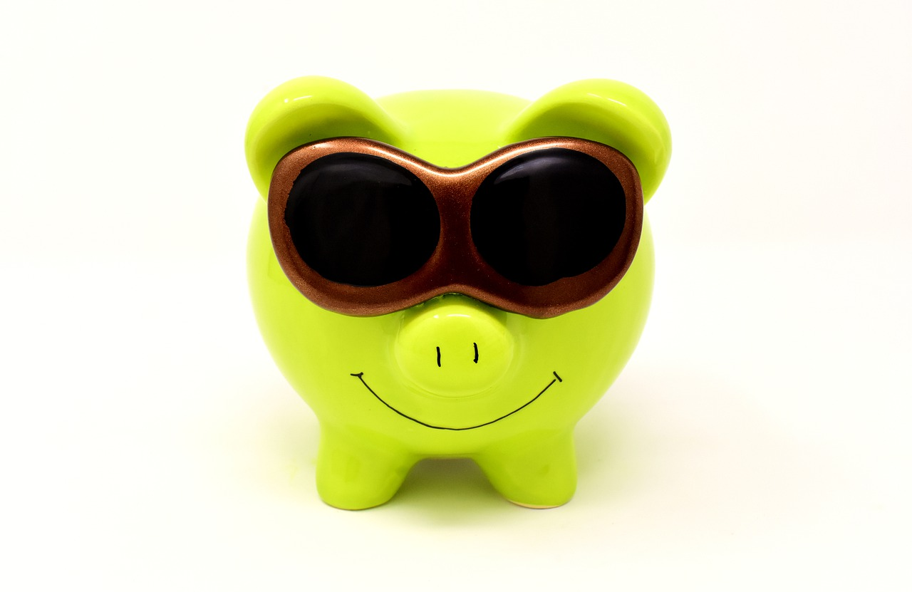 piggy bank, sunglasses, cool